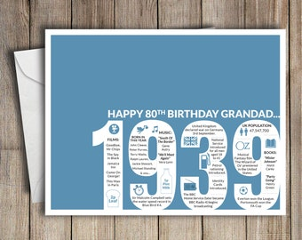 80th Birthday Card Grandad 1939 80 Greeting Birth Year Facts Blue