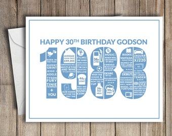 30th Birthday Card Godson 1988 30 Greeting Birth Year Facts Blue