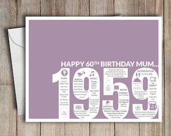 60th Birthday Card Mum 1959 60 Greeting Birth Year Facts