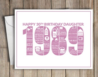 30th Birthday Card Daughter 1989 30 Greeting Birth Year Facts Pink
