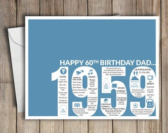 60th Birthday Card Dad 1959 60 Greeting Birth Year Facts Blue