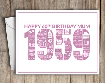 60th Birthday Card Mum 1959 60 Greeting Birth Year Facts Pink