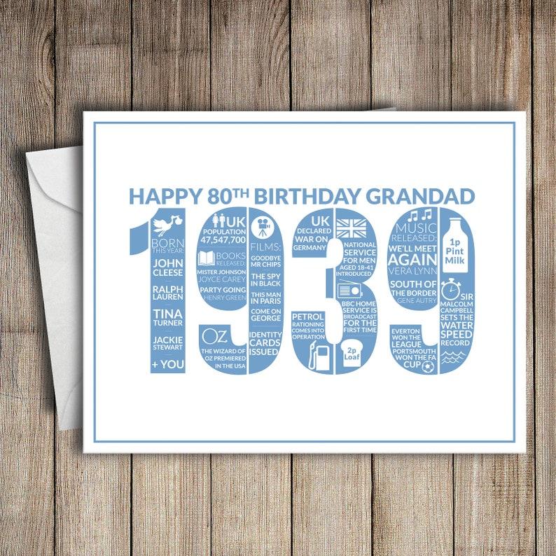 80th Birthday Card Grandad 1939 80 Greeting Birth