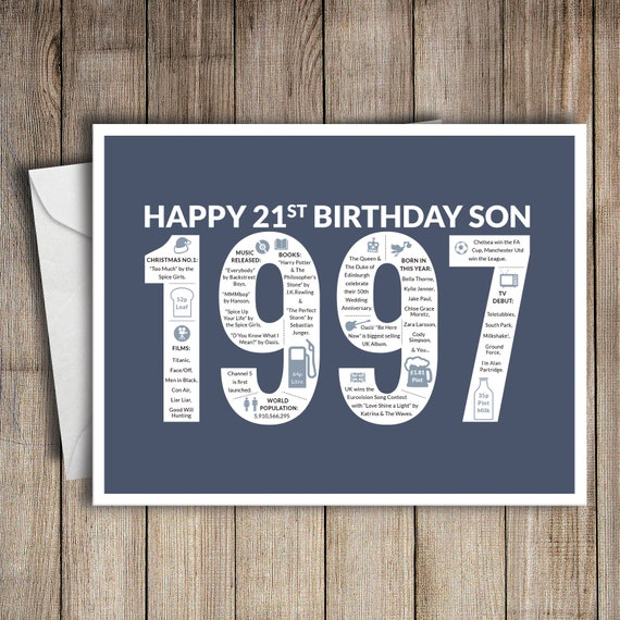 21st Birthday Card Son 1997 21 Greeting Birth