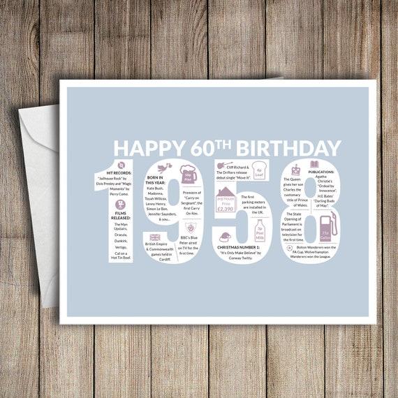 60th Birthday Card 1958 60 Greeting Birth Year