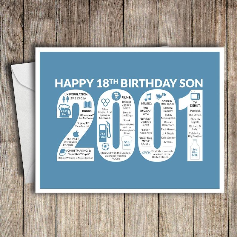 18th Birthday Card Son 2001 18 Greeting Birth