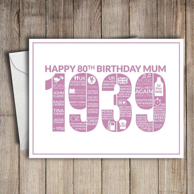 80th Birthday Card Mum 1939 80 Greeting Birth