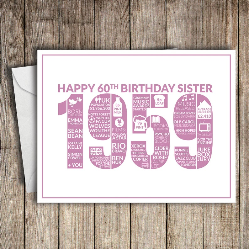 60th Birthday Card Sister 1959 60 Greeting Birth