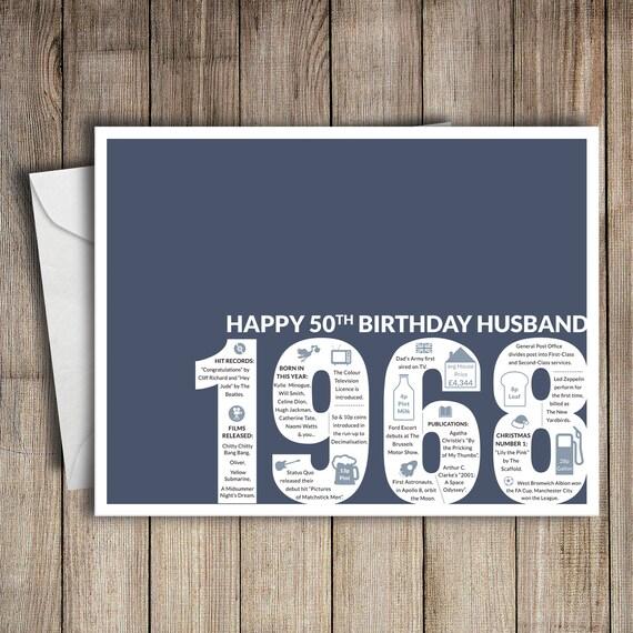 50th Birthday Card Husband 1968 50 Greeting Birth