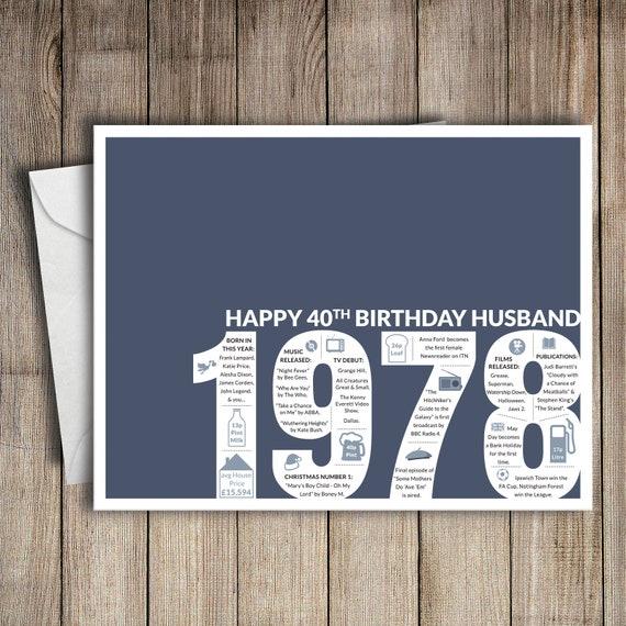 40th Birthday Card Husband 1978 40 Greeting Birth