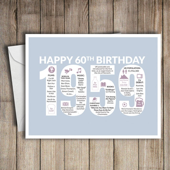 60th Birthday Card 1959 60 Greeting Birth Year