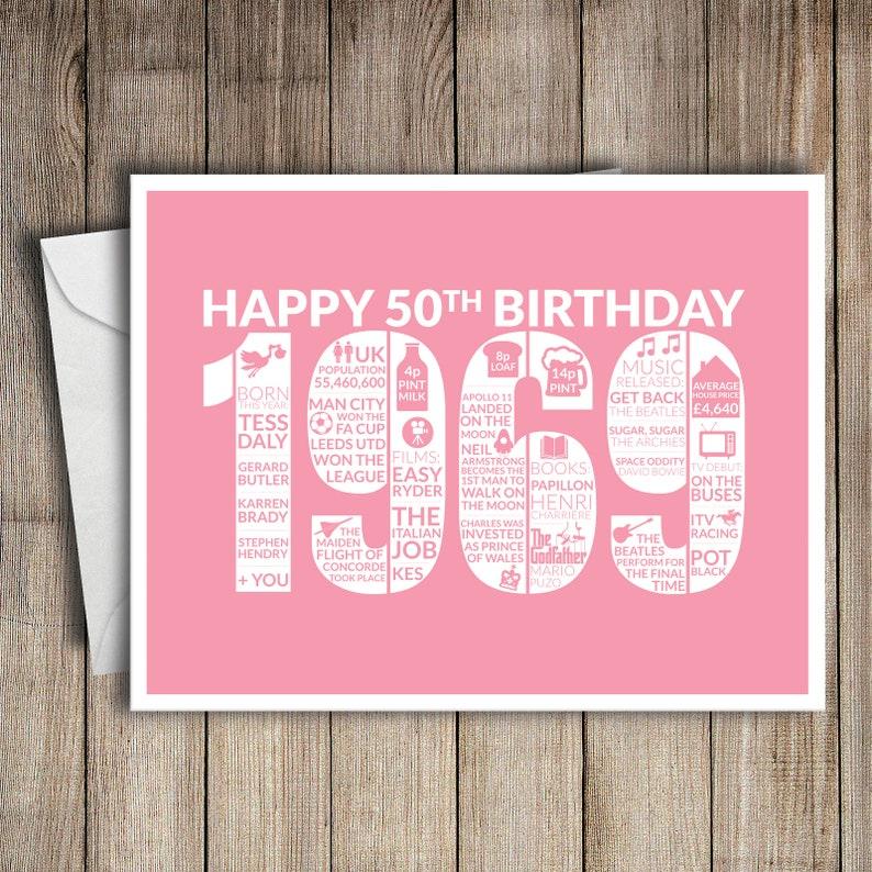 50th Birthday Card 1969 50 Greeting Birth Year