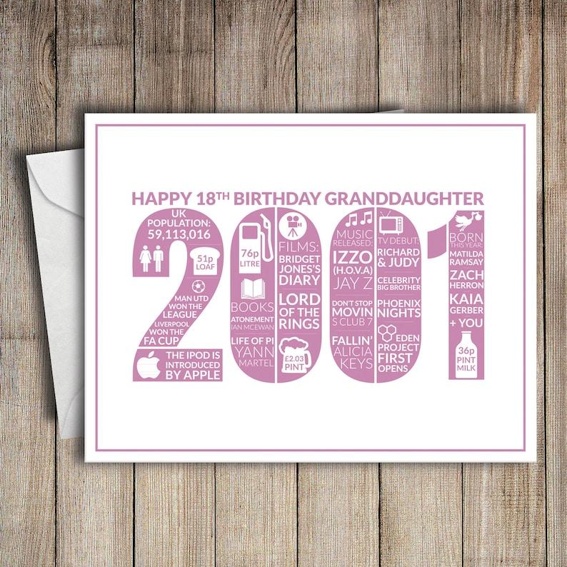18th Birthday Card Granddaughter 2001 18 Greeting