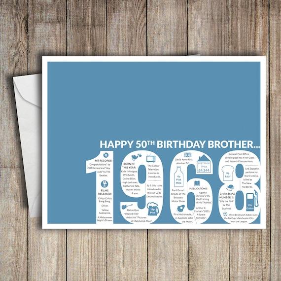 50th Birthday Card Brother 1968 50 Greeting Birth