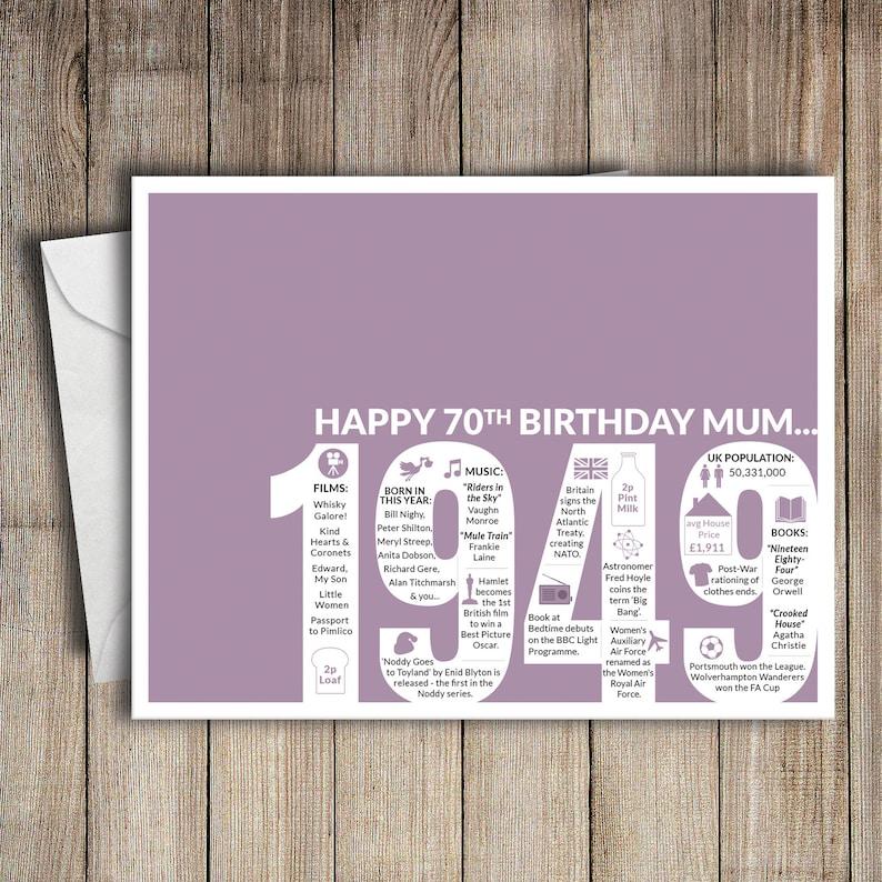 70th Birthday Card Mum 1949 70 Greeting Birth