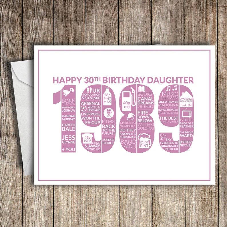 30th Birthday Card Daughter 1989 30 Greeting
