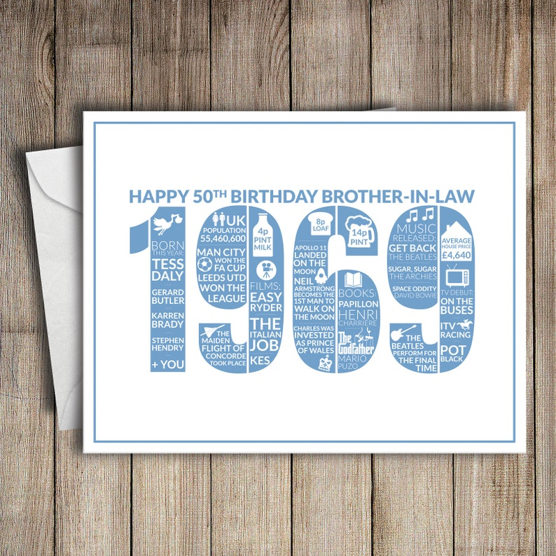 50th Birthday Card Brother In Law 1969 50 Greeting