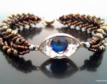 Swarovski crystals beads weave bracelet for women beaded bracelet boho chic woven bracelet statement bohemian bracelet layered bracelet