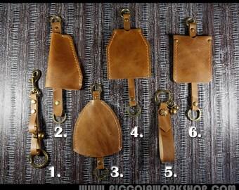 Handmade Handstitched Genuine Leather Keychain, Leather Key Holder, Leather Key Fob, Leather Key Case