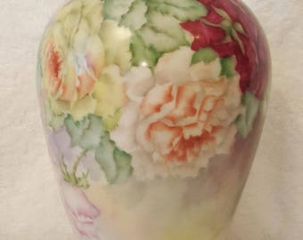 Limoges Artist signed Hand Painted Cabbage Roses Vase