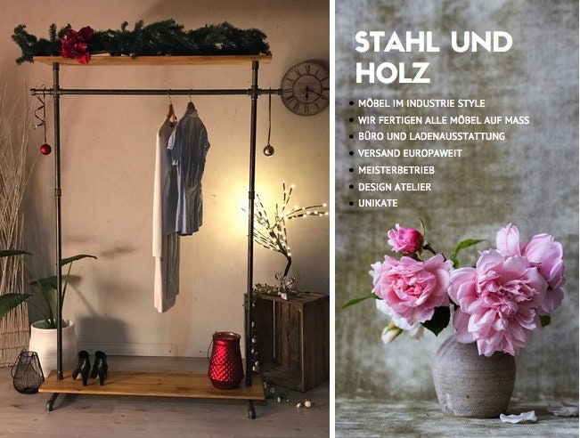 Clothes Rack Steel Clothes Rack Industrial Design Steel Etsy