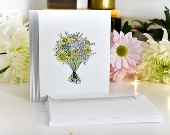 Single Bouquet Blank Cards with Envelopes