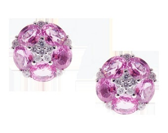 Last Call!!! Last Chance Clearance!!! 3,062 Rare 18KT Gold 4CT Pink Sapphire Diamond Floral Flower Earrings