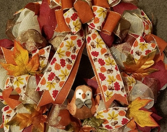 Falling Leaves Autumn Mesh Wreath and Bird