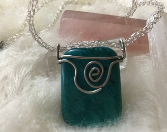 Blue Stone wire wrapped pendant and viking knit weaved necklace
