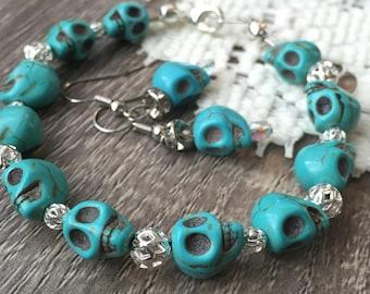 Handmade Stone Skull Bracelet and Earring Set