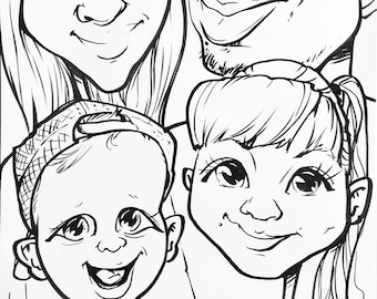 Black&White caricature for 4 people