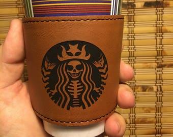 Custom laser engraved reusable coffee cup sleeve -Rawhide color