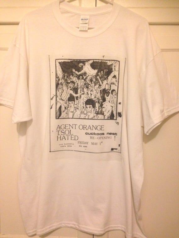 ad047dc9d T-shirt Old Punk Rock Concert Flyer Agent Orange TSOL Cuckoos