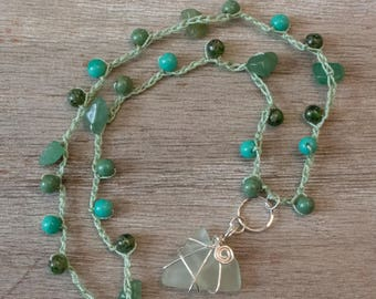 Boho Crocheted and Beaded Necklace with Sea Glass Wrapped Pendant