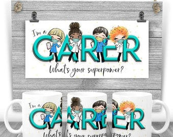 CARER Mug - I am a CARER what's your superpower? Say thank you mug. Key worker present. Stay safe. Carers gift. Care home worker, keyworker