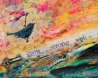 Grow Strong With Me/ArtCard/GiftCard/NoteCard/RelationshipCard/FriendshipCard/Encaustic/Mixed Media Card