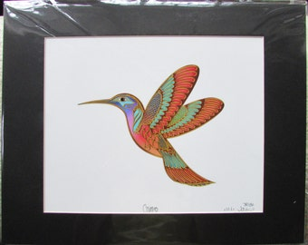 "New ""CAMEO"" Hummingbird signed & numbered Limited Edition art print by MW James  11""x14"""