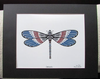 "New ""DRAGONFLY""  Limited edition art print by MW James  Matted, signed and numbered"