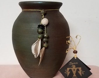 Handmade Jeremy Diller Signed Raku Pottery Spirit Jar
