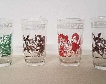 Vintage Swanky Swigs Kraft Kids Juice Glasses Set of 4