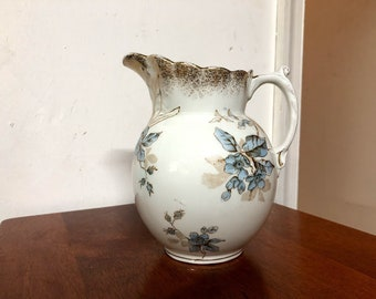 Vintage Johnson Bros Semi Porcelain Made in England Pitcher Blue Floral and Gold Spray Trim