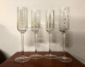 Vintage Nanette Lepore Champagne Flutes With Box Set of 4