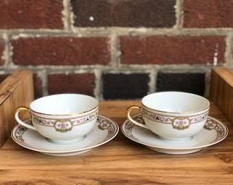 Vintage Pair of Bernardaud Limoges (B & C) Tea Cup and Saucer Doreen Pattern
