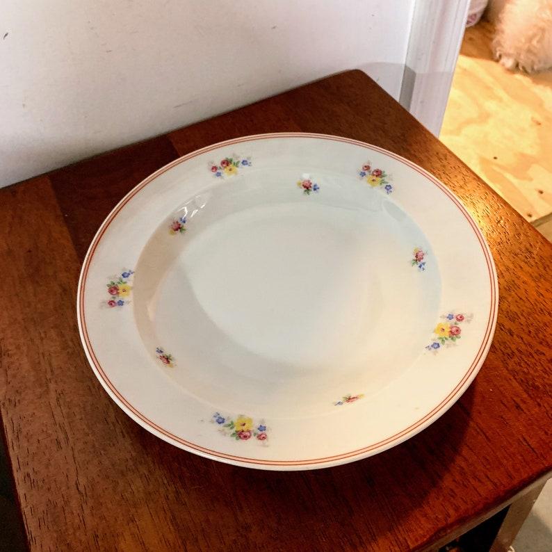 Vintage Kaestner Saxonia Double Red Line Trim Floral Print 9 14\u201d Bowl