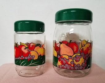 Vintage Le Parfait Glass Fruit Design Canisters Pair