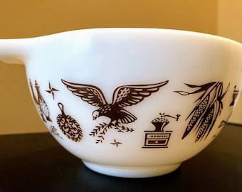 Vintage Pyrex 441 Mixing Bowl In Americana Brown Print