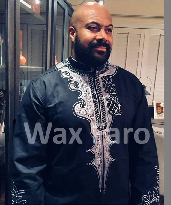 timeless design ace7d 7b609 Tunica ricamata africano uomo grigio e nero BLACK PANTHER