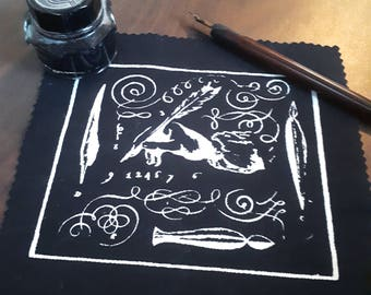 Pen And Ink:  Hand Printed Calligraphy Patch