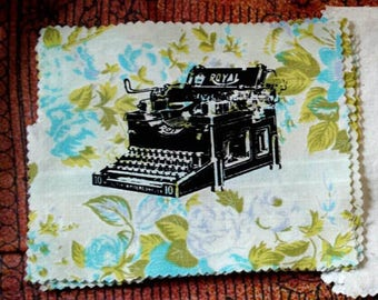 Antique Typewriter Screen Printed Patch