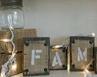 "beautiful handmade rustic wood & burlap block letter words ""FAMILY"""